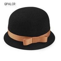 QPALCR Winter Hats For Women Lady Fedoras Formal Brim Wool Felt Hat Floppy Bowler Fedora Cloche Trilby Hat Dome Church Cap