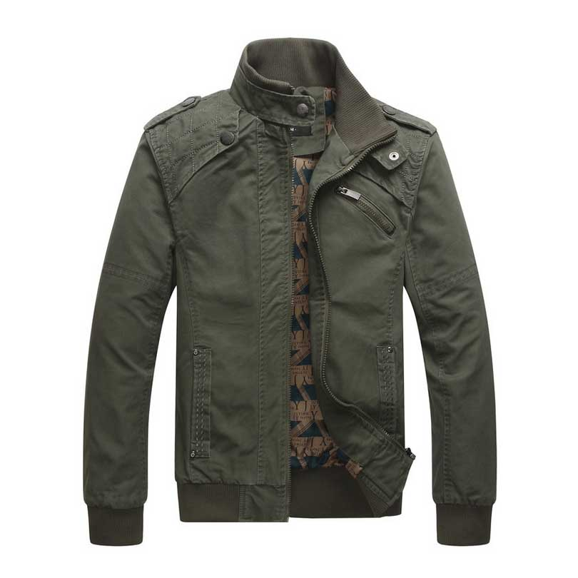 2017 New Fashion Casual Mens Jackets Military Style Cotton Army Green Coats Slim Fit Stand Collar Khaki Black Overwear M-3XL
