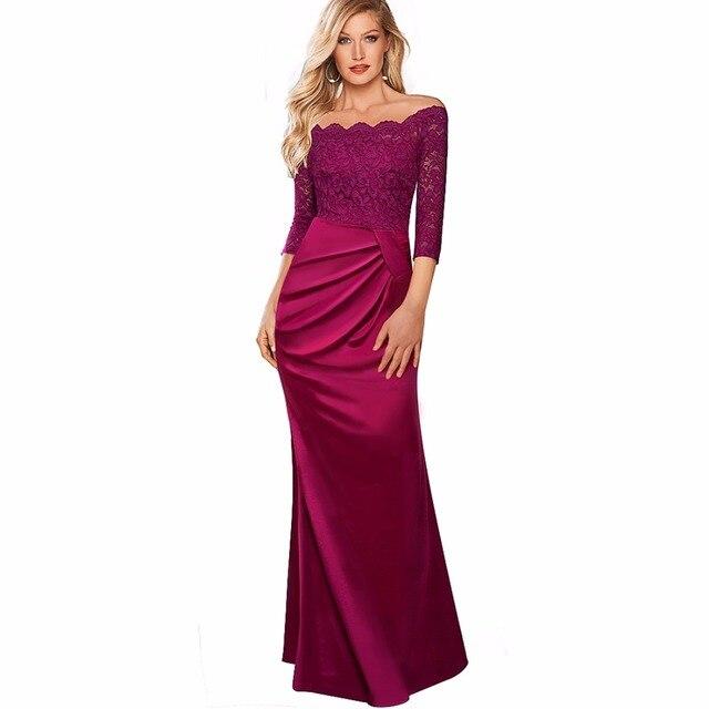 40b8a7300bf Femmes élégant brillant Satin longue Maxi robe Slash cou drapé classique  Floral dentelle soirée robe EA029