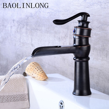 BAOLINLONG Waterfall Brass Bathroom Faucet Deck Mount Vanity Vessel Sinks Mixer Bath Faucets Tap