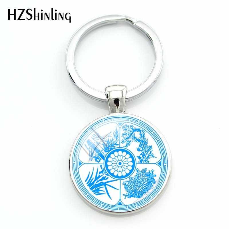 2018 أزياء جميلة الأزرق والأبيض الخزف المفاتيح فن الزجاج جولة سلسلة مفاتيح الفضة قلادة مجوهرات هدية