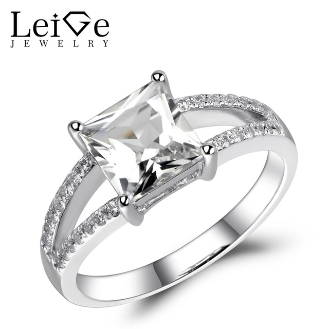 Leige Jewelry White Topaz Ring Princess Cut Natural Gemstone Stunning Engagement  Ring Double Band Sterling Silver