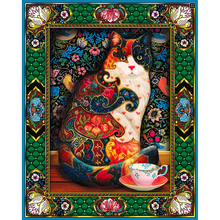 Charming Floral Cat Printed DIY Diamond Painting