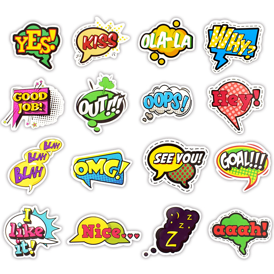 50 pcs pop style buzzword sticker toys for children creative text lol stickers gadget gift to diy scrapbook laptop suitcase bike in stickers from toys