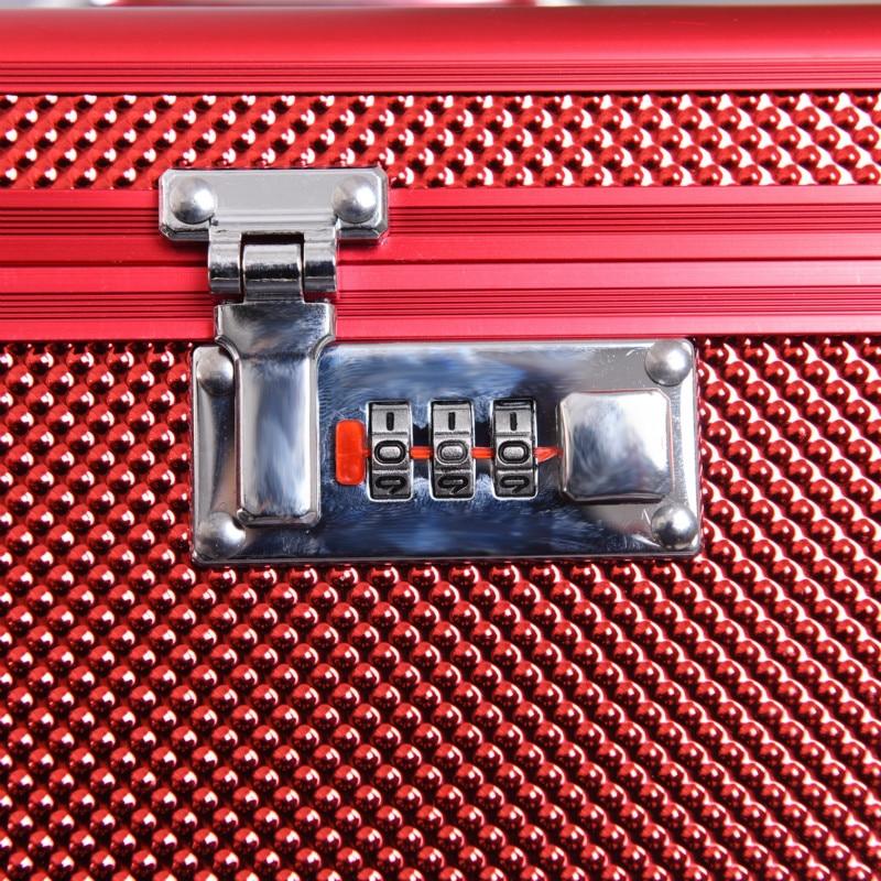 Купить с кэшбэком hot selling quality Professional Aluminium alloy Cosmetic case Make up Box Makeup Case Multi Tiers Lockable Jewelry Box
