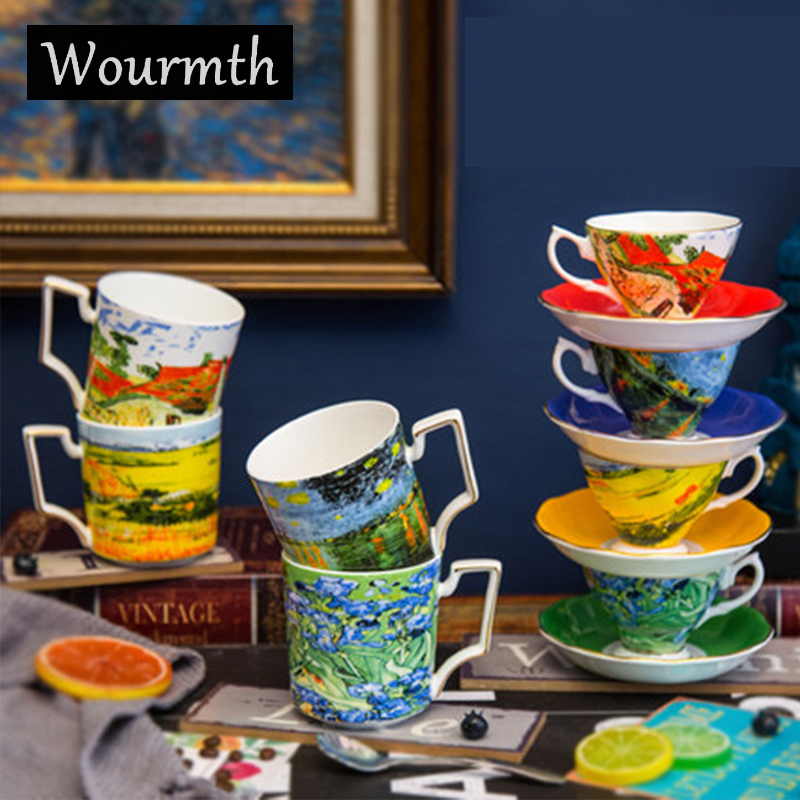Wourmth European-style Phnom Penh Bone china <font><b>Coffeecup</b></font> Starry Ceramic Creative Afternoon Flower Teacup with Spoon Porcelain Gift image