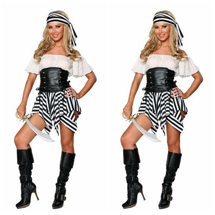 US $18 69 15% OFF|Halloween Gift New Arrival Pirate Costume Dress+Head  Scarf Women Sexy Game Clubwear Halloween Apparel Free Drop Shipping-in Sexy