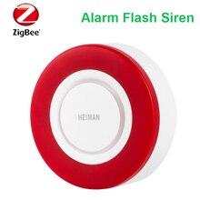 Compatible con el asistente de hogar, Deconz,Conbee rojo intermitente 95db HEIMAN alarma Zigbee sirena HS2WD-E