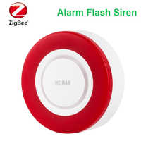 Compatible with Home Assistant, Deconz,Conbee wireless Zigbee alarm siren 95db red flash light zigbee member alarm strobe siren