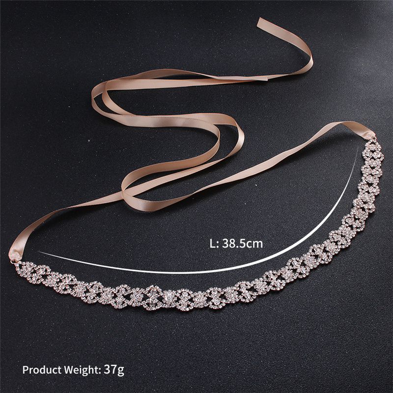 Купить с кэшбэком Rose Gold Rhinestone Wedding Belt Shiny Bridal Sash Crystal Ribbon Stone Belt Bridal Sashes Diamond Wedding Decoration FB4