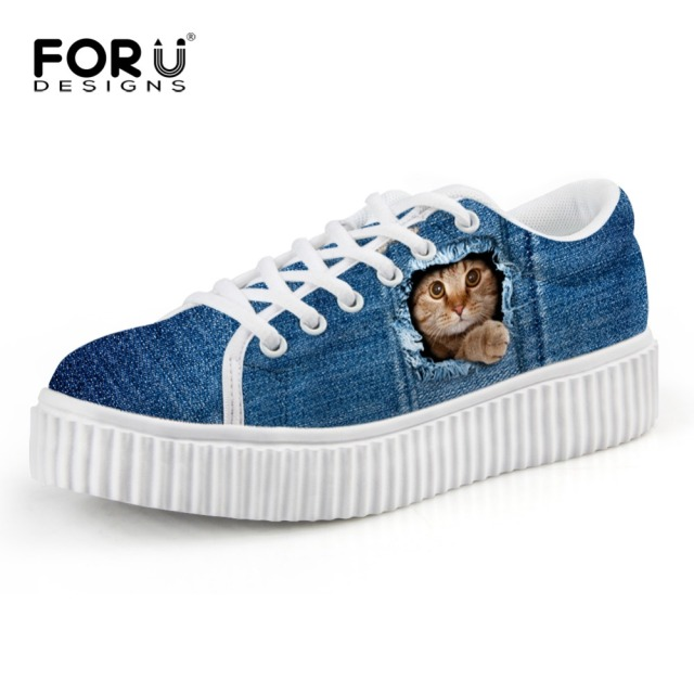 FORUDESIGNS Women Shoes 2017 Jeans Cat Lace Up Girls Creepers Girls Casual Shoes Winter Female Platform Shoes Sapatos Femininos