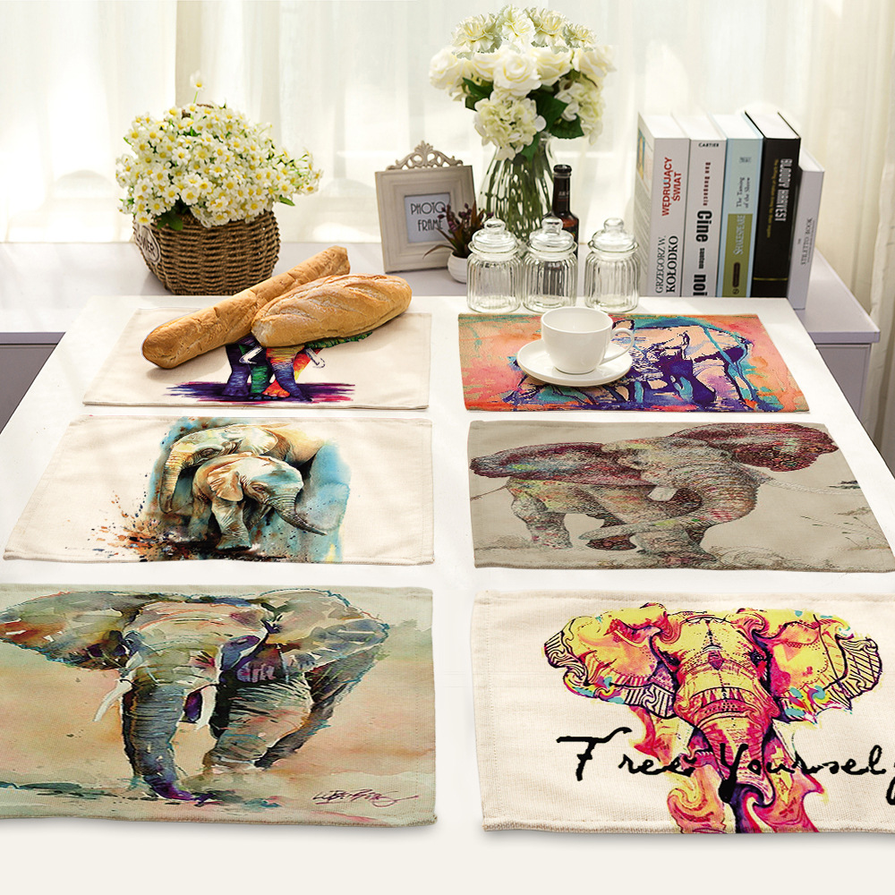 CAMMITEVER Hot Selling Elephant Dining Table Placemat Kitchen Tool Tableware Pad Coaster Coffee Tea Place Mat Europe Style Print