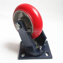 1 pcs 5 inch 200mm korean type supper heavy duty red PU bearing swivel plate caster wheel