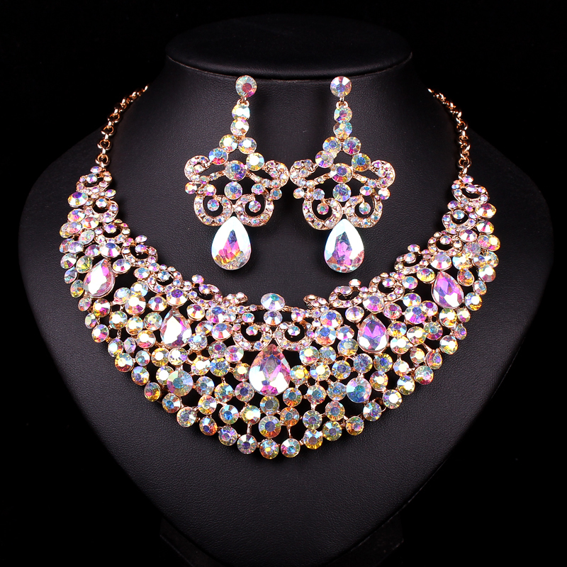 4552899aa4635 US $27.69 |New Gold Color Necklace Crystal Necklace Earring Bridal Jewelry  Sets Bride Wedding Party Prom Dresses Accessories Gift Women-in Jewelry ...