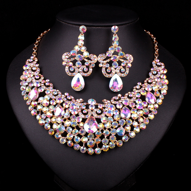 New Gold Color Necklace Crystal Necklace Earring Bridal Jewelry Sets