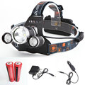 Linterna LED Headlamp 4000 Lumens Head Lamp T6 3 LED Headlight Head Torch Flashlight+2*18650 battery 5000mAh+Charger+Car Charger