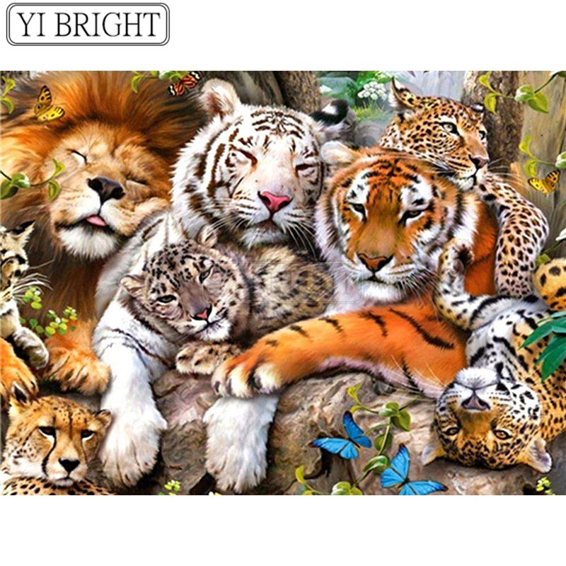 Diamond Mosaic Animals Tiger Paint With Diamonds 5D Lion Decoration Home DIY Leopard Full Square&Round Drill Resin LK1