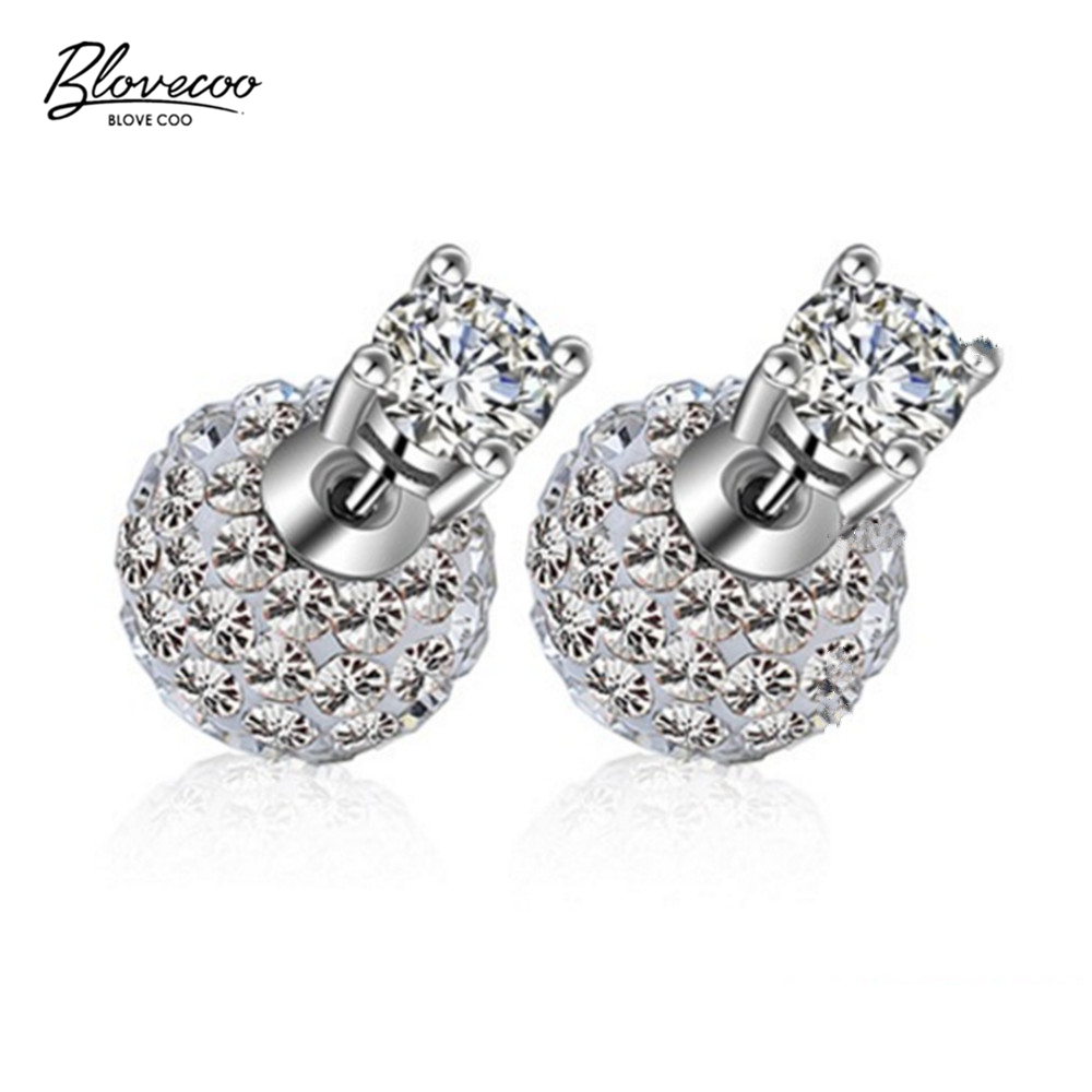 Womens fashion jewelry Shambhala luxury four-pronged zircon earrings pearl silver stud Earrings girls cute fine jewelry 10MM