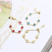 Delicate Chic pure s925 silver ruby/sapphire/opal natural stone gold charms adjust chain rings women fashion Midi rings jewelry 18 k gold natural ruby jewelry set