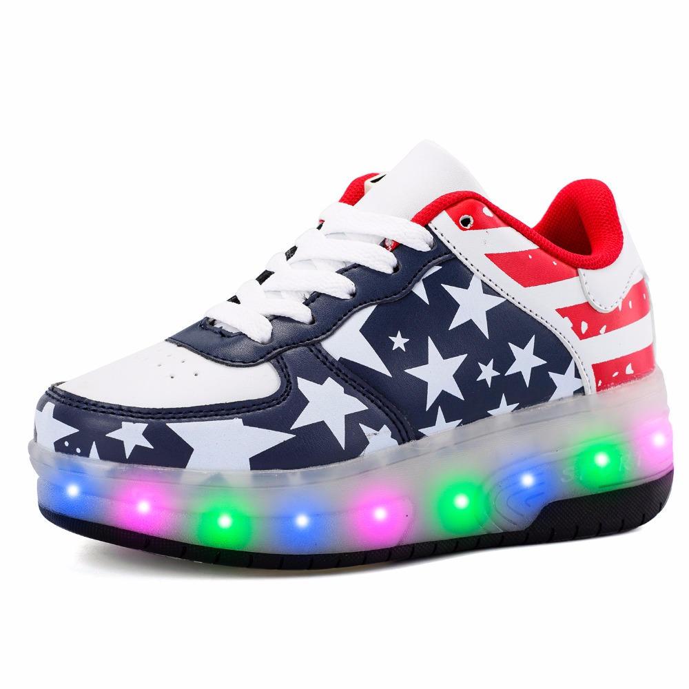 Double Wheel Chargable Glowing Sneaker Breathable Mesh PU leather LED Light Casual Shoes Boys Girls Full Light Flash Flat 29-41 glowing sneakers usb charging shoes lights up colorful led kids luminous sneakers glowing sneakers black led shoes for boys