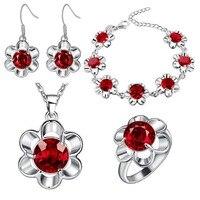 Pulseira anel brincos colar pingente set jóias de prata grosso plum cor da flor e de comércio exterior por atacado colorido pedra