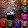 PUBG рисунок 3D Иллюзия светодиодный Ночной светильник 7 Красочные изменить вспышки светильник Настольная лампа игровая модель игрушки - фото