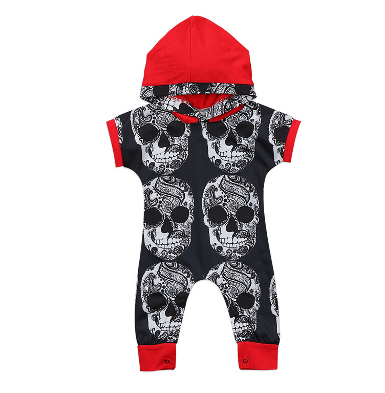 Cool Skull Print Boys Rompers Short Sleeve Toddler Infant Baby Boy Halloween Hooded Romper Jumpsuit Outfit Clothes Summer Cotton