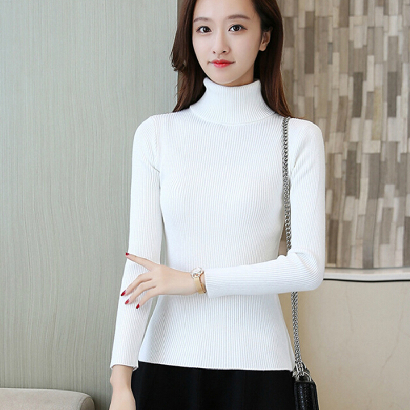 2018 Korean Style Vintage Turtleneck Sweater Autumn Winter Women Knitted Slim Elastic Pullovers Female Knit Tops Femme