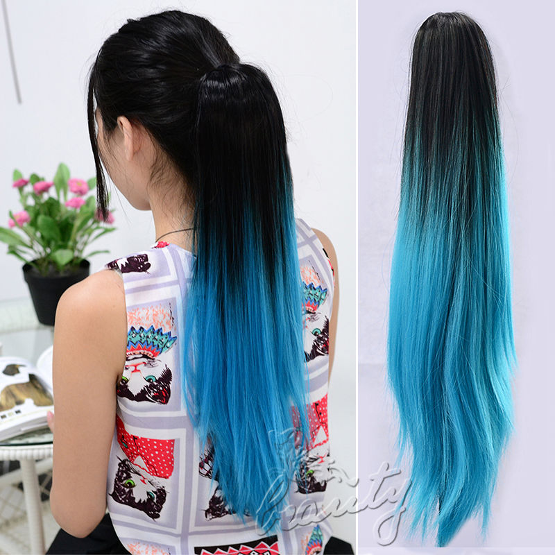 Fashion 20 Clip On Hair Extensions Claw Pony Tail Synthetic