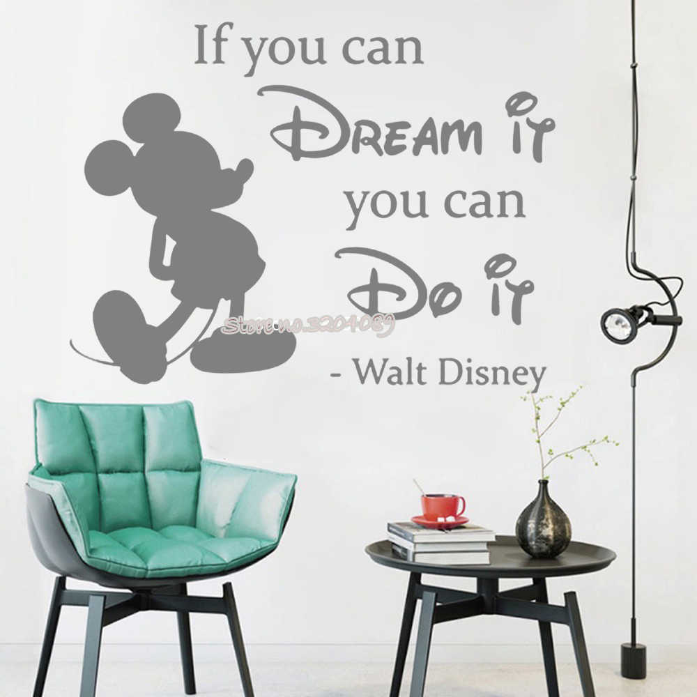 Minnie Mickey Mouse Wall Sticker If You Can Dream It You Can Do It  Inspirational Quote Home Decor Kids bedroom nursery LC1101