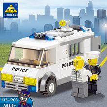 135Pcs City Police Custody Van Car Building Blocks Sets Model Bricks Playmobil Toys for Children new original banbao 8342 city patrol boat building blocks sets police boats model assemble bricks toys s213