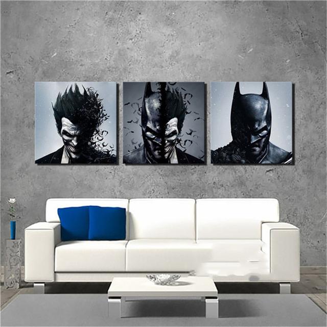 Painting Living Room Wall Cuadros Decoration Art 3 Piecespcs Joker Batman Poster Canvas Frames Print Hd Modular Printed Picture