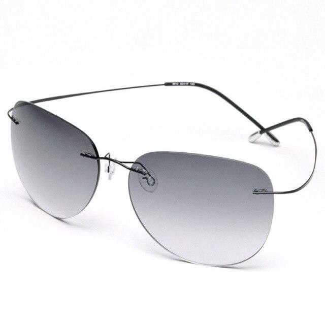 Высокое качество Нового Титана Кадр Градиент Без Оправы Солнцезащитные Очки Очки Мужчины женщины Вождения очки С Футляром Óculos де грау