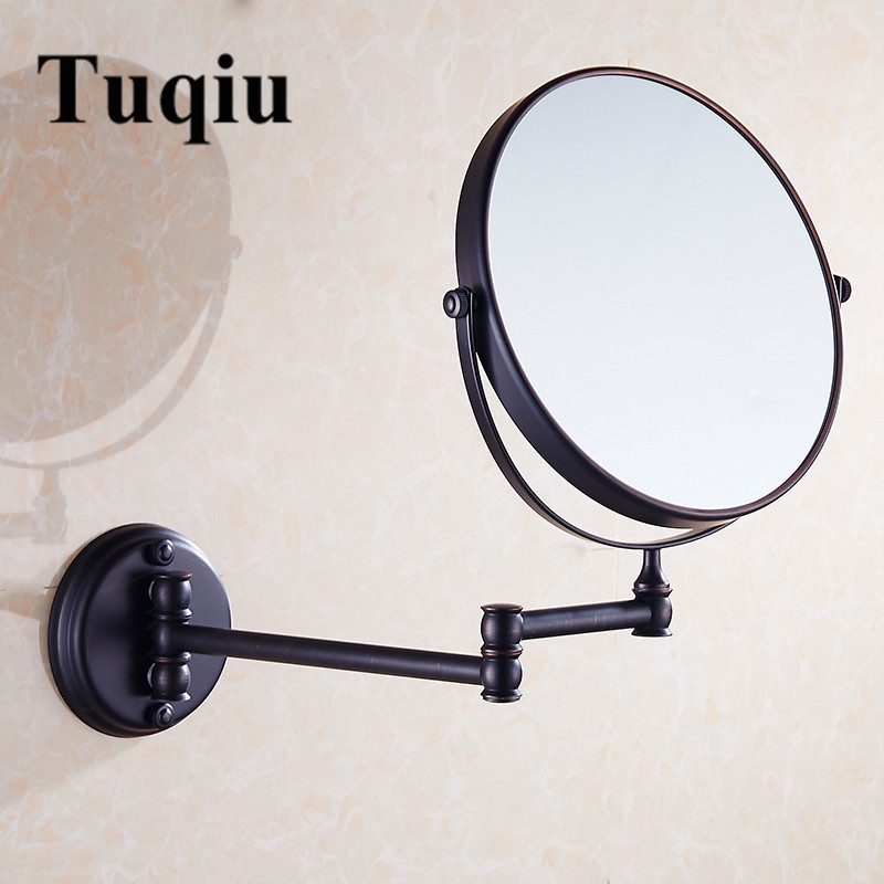 Chrome/Antique 8 inch bath mirror 360 retractable wall mounted 1X/3X cosmetic makeup double faced led mirror bathroom accessory bathroom mirror 8 dual makeup mirror 1 1 and 1 3 magnifier square copper cosmetic bathroom double faced bath mirror