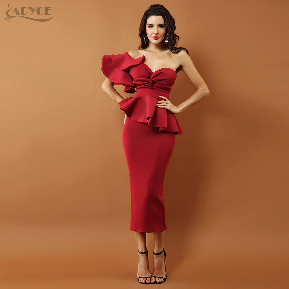 Adyce Celebrity Evening Party Dress Women 2019 Sexy Bodycon Sets One Shoulder Ruffles Short Sleeve Strapless