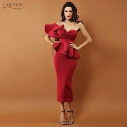 Adyce Bow&Ruffles Mid Celebrity Evening Party Dress 2018 New Women Bodycon Set One Shoulder Short Sleeve Strapless Dress Vestido