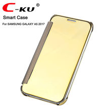 C-KU Smart Cover For SANSUNG A3 2017 A5 2017 A7 2017 Mirror Plating Luxury Clear View Flip Case For Samsung A320 A520 A720 Cases