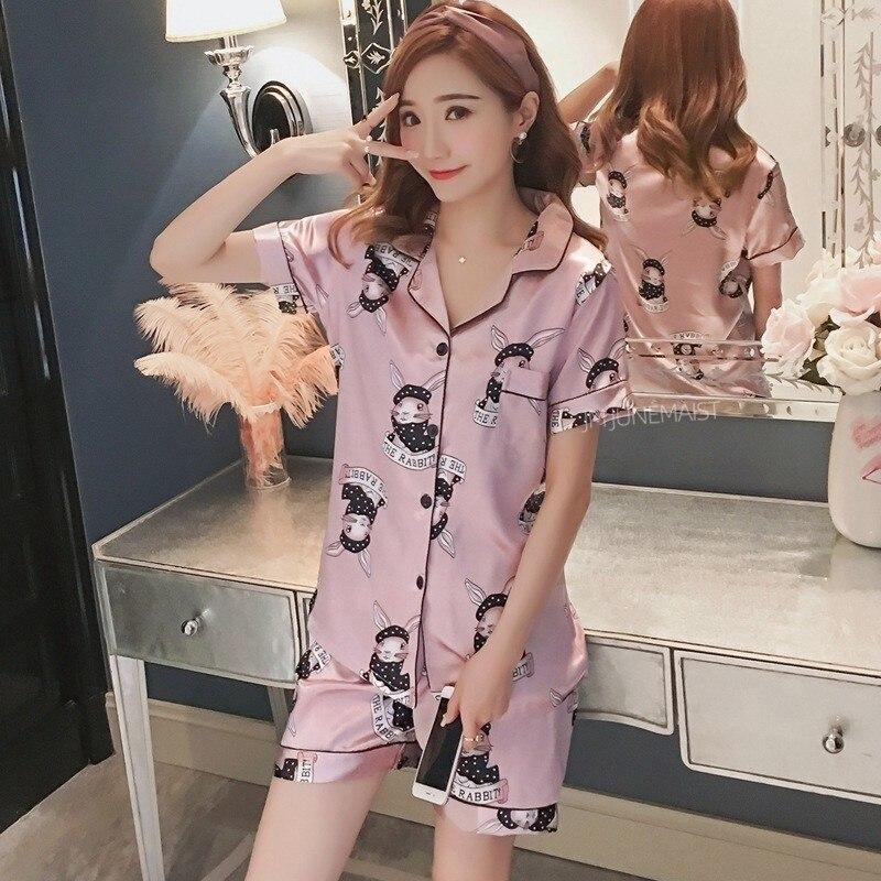 Women Pyjamas Silk Short Tops Set Female Pajamas Set NightSuit Sleepwear Sets Long Pant Women Night in Pajama Sets from Underwear Sleepwears