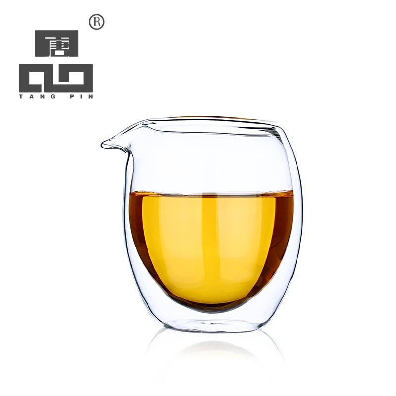 TANGPIN Heat Resistant Double Wall Glass Tea Pitcher Chahai Coffee Tea Accessories 150ml