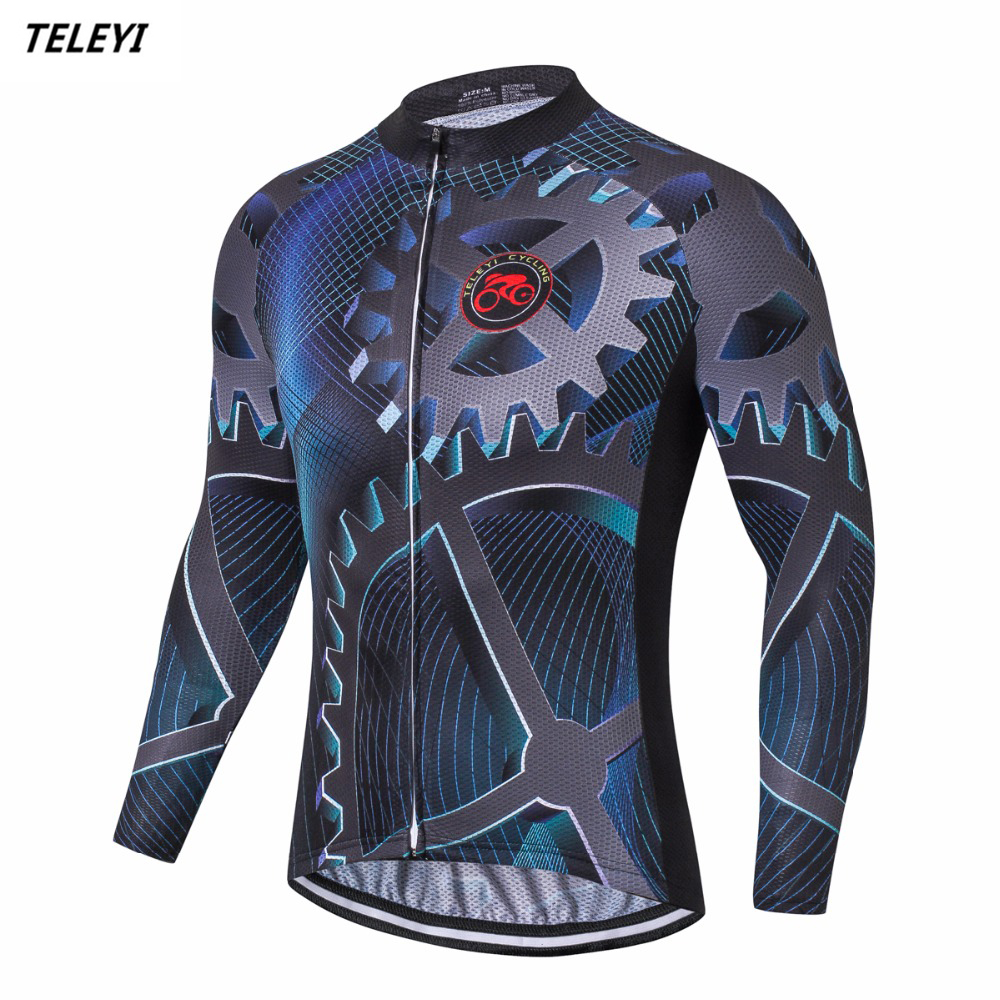 TELEYI Men Cycling Jersey Mtb riding team long sleeve gear Bike jersey racing roupa Ciclismo Maillot Outdoor Sportswear Clothing