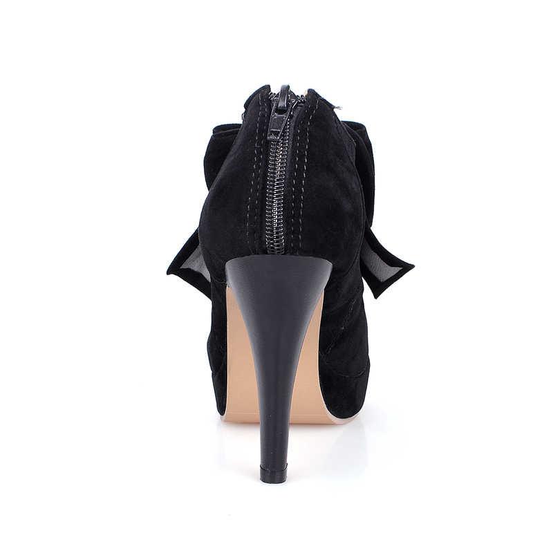Dilalula yeni artı boyutu 30 48 moda platformu yüksek topuklu kadın pompaları bahar sonbahar papyon düğün parti bayanlar ayakkabı kadın