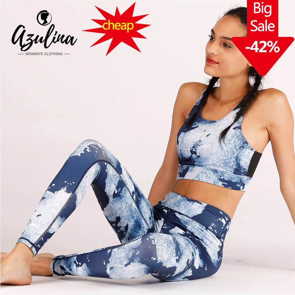 AZULINA Ocean Printed Elastic Women Yoga Set with Chest Pad Gym Fitness Clothes Running Jogging Workout Yoga Leggings Sport Suit