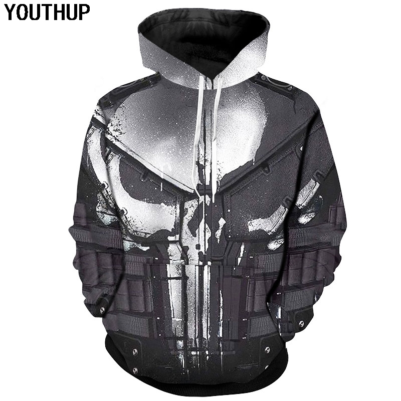 YOUTHUP 2020 Cosplay Hoodies For Men Skull 3d Print Hooded Sweatshirts Men Cool Punisher Hoodies 3d Pullover Plus Size 5XL Coat