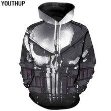 Youthup 2020 Cosplay Hoodies Voor Mannen Skull 3d Print Hoody Mannen Cool Punisher Hoodies 3d Trui Plus Size 5XL jas