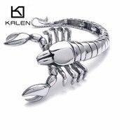 Scorpions de Kalen Hommes Bracelet En Acier Inoxydable Rock Animal Scorpions Tête Charme Bracelet Wrap Bracelet Mâle En Gros Bijoux Cadeau