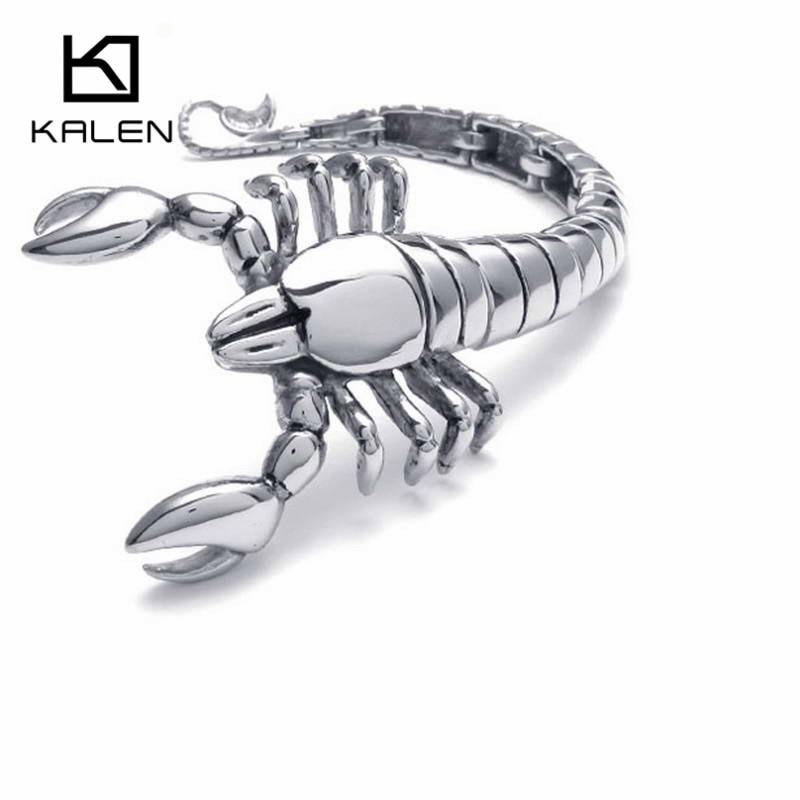 Kalen Men's Scorpions Bracelet Stainless Steel Rock Animal Scorpions Head Charm Bracelet Wrap Bangle Male Wholesale Jewelry Gift scorpions scorpions born to touch your feelings best of rock ballads