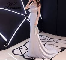 Banquet dress 2019 new elegant ladies white long section slim fishtail dignified
