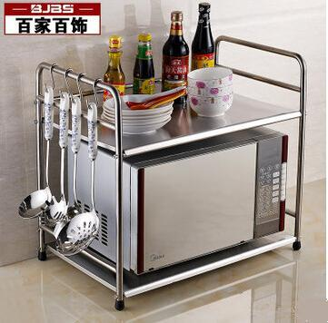 53 Cm Microwave Oven Kitchen Stainless Steel Shelf Receive Storage Aircraft Layer