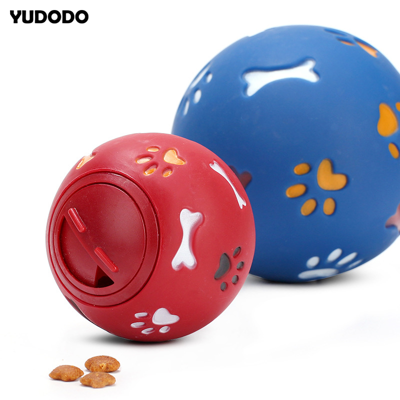 Red/Blue Dog Leaking Ball Non-toxic Plastic Interactive Chew Dog Toy Pet Training Control Weight Clean Teeth Pet Supplies Toy