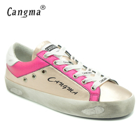 CANGMA Women Sneakers Shoes Breathable Patent Leather Retro Golden Casual Shoes Woman Handmade Fashion Girl Gold Adult Footwear